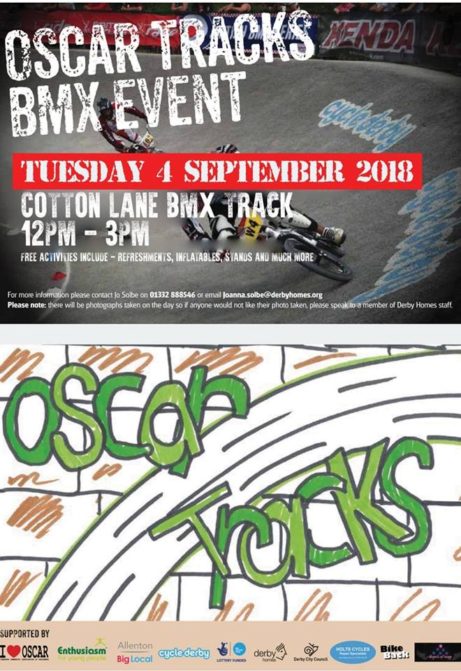 Working in partnership with a number of lcoal organisations and agencies including Queens Award Winning Enthusiasm Trust, Derby Homes and Derby City Council we're supporting the Oscar Tracks BMX Event at Cotton Lane - providing free refreshments, inflatables, bmx challenges and fun for all the community