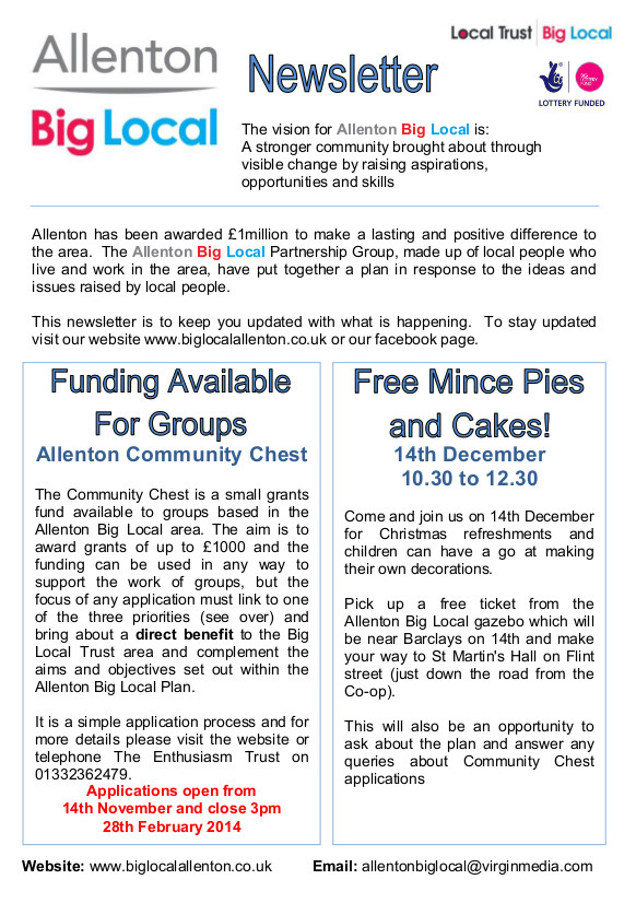 Allenton Big Local Newsletter Nov 2013