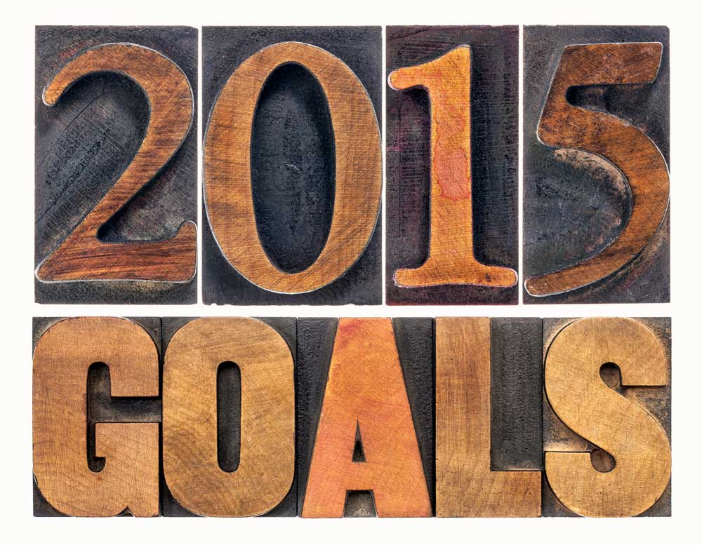 Wooden letters that read '2015 goals'