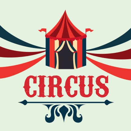 A big top tent with the word Circus underneath it