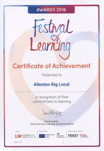 Certificate of Achievement from the Festival of Learning