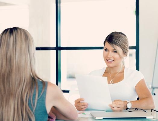 Woman attending a job interview